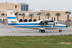 Luqa, Malta 4 April 2005: French Air Force dHC-6 landing runway 31. Stock Photography