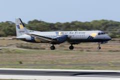 Luqa, Malta 18 August, 2015: ATP landing.. West Air Europe Cargo British Aerospace ATP landing runway 31. ATP stands for Advanced Turbo Prop Stock Image