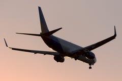 Luqa, Malta 20 August, 2015: Jet2 Holidays 737 landing. Jet2 Boeing 737-8K5 landing runway 31 against the setting sun Royalty Free Stock Image