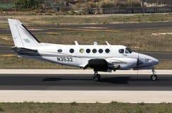 Luqa, Malta 30 August, 2015: Kingair landing. A private Beech B100 King Air  landing runway 31 Royalty Free Stock Photography