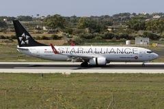 Luqa, Malta 30 August, 2015: 737 landing. Star Alliance (Turkish Airlines) Boeing 737-8F2 landing runway 31 Royalty Free Stock Photos