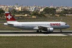 Luqa, Malta 30 August, 2015: Swiss A320 landing. Royalty Free Stock Photos