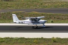 Luqa, Malta 30 August, 2015: Tecnam landing. Malta School of Flying Tecnam P92 JS  landing runway 31 Royalty Free Stock Images