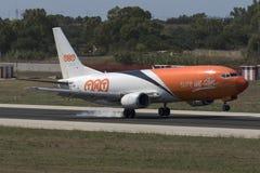 Luqa, Malta 18 August, 2015: TNT 737 landing.. TNT Cargo Boeing 737 landing runway 31 Stock Photography
