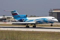 Luqa, Malta 14 August 2008: Yak 42 landing. Royalty Free Stock Photos