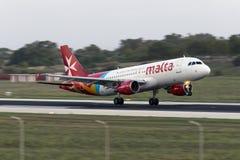 Luqa, Malta - 20 de septiembre de 2015: Aire Malta A320 Imágenes de archivo libres de regalías