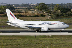 Luqa, Malta - 17 de setembro de 2015: Hermes 737-500 Imagem de Stock Royalty Free
