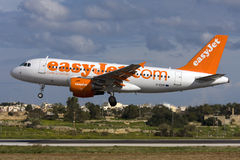 Luqa, Malta - 20 December 2008: A319 on finals. Royalty Free Stock Image