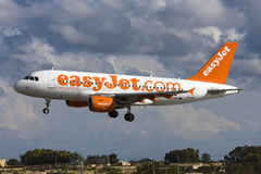 Luqa, Malta - 20 December 2008: A319 on finals. Stock Photo