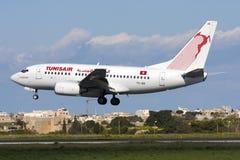Luqa Malta - 19 Februari 2009: Tunisiska 737 Royaltyfri Foto