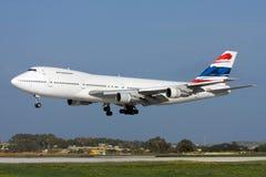 Luqa, Malta, il 6 marzo 2008: Atterraggio del Jumbo-jet Fotografie Stock