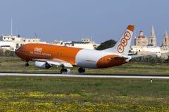 Luqa, Malta 12 January 2016: Cargo 737 on finals. Stock Photo