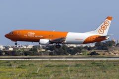 Luqa, Malta 12 January 2016: Cargo 737 on finals. Stock Photos