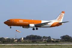 Luqa, Malta 12 January 2016: Cargo 737 on finals. Royalty Free Stock Photos