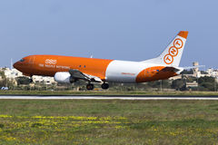 Luqa, Malta 12 January 2016: Cargo 737 on finals. Stock Photography