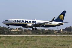 Luqa, Malta 12 January 2016: 737-800 landing. Ryanair Boeing 737-8AS [EI-ENM] landing runway 31 Royalty Free Stock Photo
