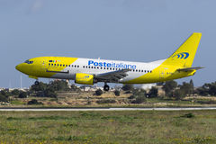 Luqa, Malta 12 January 2016: Mistral 737 on finals. Royalty Free Stock Photography
