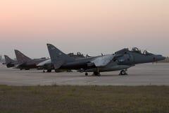 Luqa, Malta 22 Juli 2007: 3 RAF Harriers parkeerde in schort 4 Royalty-vrije Stock Foto's