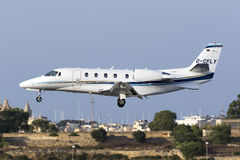 Luqa, Malta 9 July 2015: Cessna Citation landing. Stock Photos