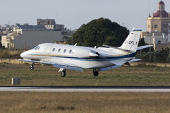 Luqa, Malta 9 July 2015: Cessna Citation landing. Royalty Free Stock Photos