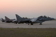 Luqa, Malta 22 July 2007: 3 RAF Harriers parked in apron 4. Royalty Free Stock Photos