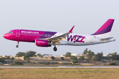 Luqa, Malta 10 July 2015: Wizzair A320 landing. Stock Images