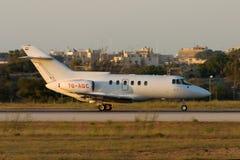 Luqa, Malta July 3, 2005: Yemen registered HS-125. British Aerospace BAe-125-800B [7O-ADC] backtracking runway 32 Royalty Free Stock Photos