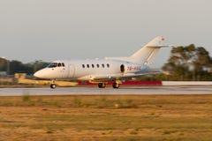 Luqa, Malta July 3, 2005: Yemen registered HS-125. Panned photograph of British Aerospace BAe-125-800B Stock Images