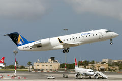 Luqa, Malta, 12 June 2005: CRJ-200 take off. Stock Photography