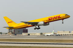 Luqa, Malta 16 June 2015: DHL Boeing 757 on departure in the evening. Royalty Free Stock Photo
