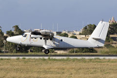 Luqa, Malta 18 June 2015: French Air Force dHC-6 landing runway 31. Royalty Free Stock Photography