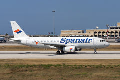 Luqa, Malta - 6 June 2005: Spanair A320. Royalty Free Stock Images