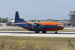 Luqa, Malta June 19, 2015: An-12 taxiing. Royalty Free Stock Photo