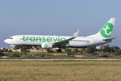 Luqa, Malta 18 June, 2015: Transavia 737 landing runway 31. Stock Photos