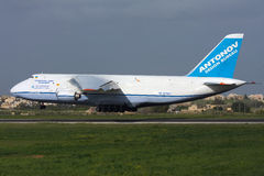 Luqa, Malta, 6 March 2008: An-124 landing Royalty Free Stock Photo