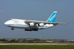 Luqa, Malta, 6 March 2008: An-124 landing Royalty Free Stock Photo