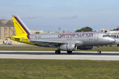 Luqa, Malta 20 November 2007: Germanwings Airbus A319 arrives in Malta. Stock Photography