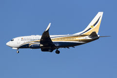 Luqa, Malta - 11 November 2015: 737 landing. Chad Government Boeing 737-74Q BBJ arriving for the EU - Africa Valletta Summit held in Malta between EU and Stock Photography