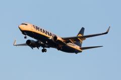 Luqa, Malta - 11 November 2015: 737 landing. Ryanair 737-800 landing in the sunset light Royalty Free Stock Image
