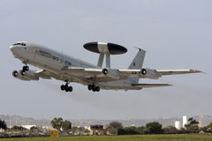 Luqa, Malta, 1 October 2012: AWACS take off. Luxembourg - NATO Boeing E-3A Sentry (707-300) on take off from runway 13 Stock Photos