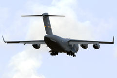 Luqa, Malta 24 October 2015: C-17 landing. United States Air Force Boeing C-17A Globemaster III [07-7819] on long finals runway 31, arriving from Ramstein Stock Photo