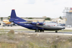 Luqa, Malta - 1 October 2015: Panned shot of An-12. Stock Photo