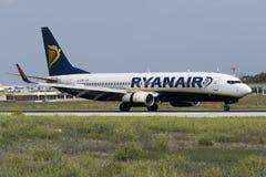 Luqa, Malta - 20 October 2015: Ryanair 737-800 landing. Ryanair Boeing 737-8AS [EI-EMH] landing runway 13 Royalty Free Stock Photos