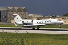 Luqa Malta, 24 Oktober 2008: Gulfstream G-IV landning Arkivbild