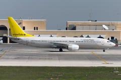 Luqa Malta Oktober 20, 2004: 737-800 lämna ställning Royaltyfri Foto