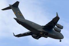 Luqa Malta 24 Oktober 2015: Landning C-17 Royaltyfria Foton