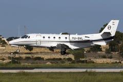 Luqa, Malta - 8 2015 Październik: Cessna cytacja Obrazy Royalty Free