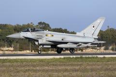 Luqa, Malta - 19 2015 Październik: RAF tajfun Obrazy Royalty Free