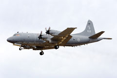 Luqa, Malta - 25 September 2015: Aurora Landing. A Canadian CP-140 Aurora, the equivalent of a US Navy P-3 Orion, arriving to participate in the Malta Royalty Free Stock Photos