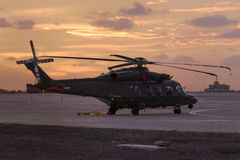 Luqa, Malta - 26 September 2015: AW189 in the sunrise. Stock Photos